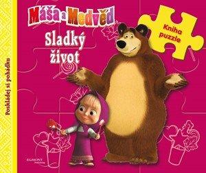O. Kuzovkov: Máša a medvěd - Sladký život - Kniha puzzle - Poskládej si pohádku