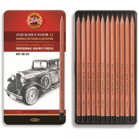 neuveden: Koh-i-noor tužka grafitová umělecká 8B–2H souprava 12 ks v plechové krabičc
