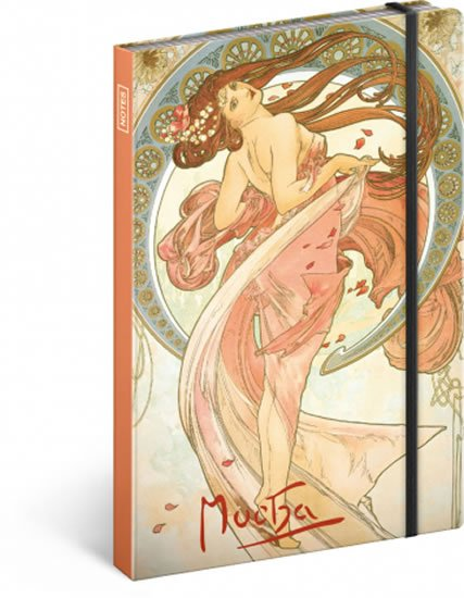 neuveden: Notes - Alfons Mucha – Tanec, linkovaný, 13 x 21 cm