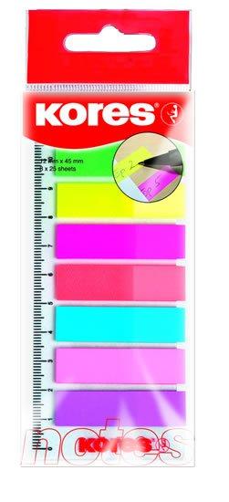 neuveden: Kores Neonové záložky Index Strips na pravítku 45x12 mm 8 barev