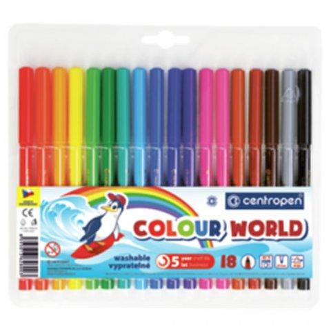 neuveden: Centropen Fixy COLOUR WORLD 7550 trojboké, sada 18 barev