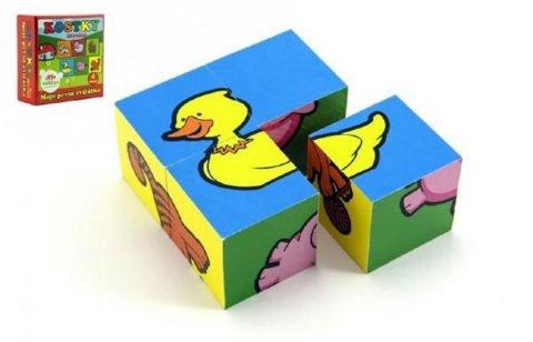 neuveden: Moje první zvířátka  - Kostky kubus dřevěné 4 ks
