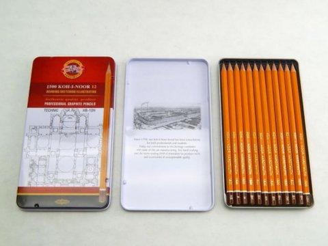 neuveden: Koh-i-noor tužka grafitová technická HB-10H souprava 12ks v plechové krabič