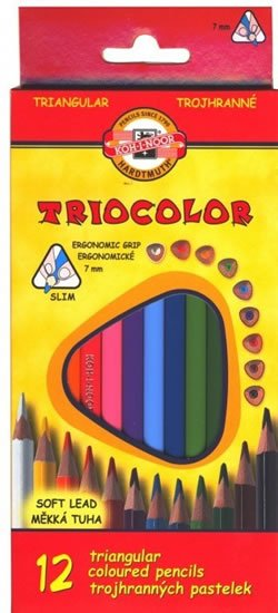 neuveden: Koh-i-noor pastelky TRIOCOLOR trojhranné tenké (měkká tuha) souprava 12 ks