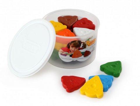 neuveden: JOVI voskovky MEDVÍDEK, trojúhelníkové 30 ks, 10 barev, základní, v kelímku