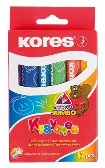 neuveden: Kores KRAYONES - voskové pastelky trojhranné JUMBO 12 barev