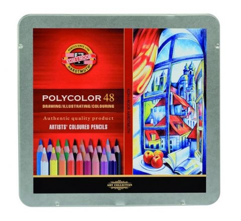 neuveden: Koh-i-noor pastelky umělecké POLYCOLOR kreslířská sada 48 ks v plechové kra