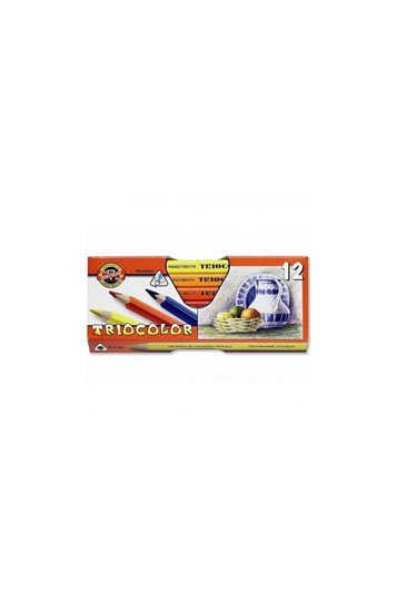 neuveden: Koh-i-noor pastelky TRIOCOLOR trojhranné silné souprava 12 ks v papírové kr