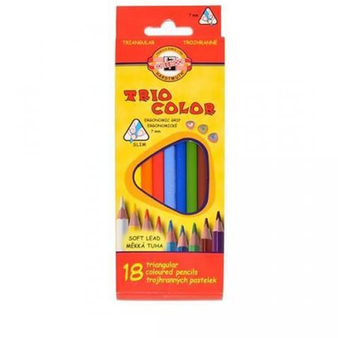 neuveden: Koh-i-noor pastelky TRIOCOLOR trojhranné tenké (měkká tuha) souprava 18 ks