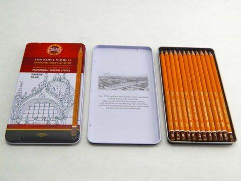 neuveden: Koh-i-noor tužka grafitová grafická 5B–5H souprava 12 ks v plechové krabičc