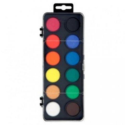 neuveden: Koh-i-noor vodové barvy/vodovky obdélník černý 12 barev o průměru 30 mm
