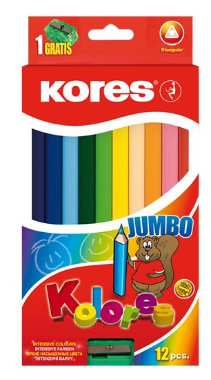 neuveden: Kores Jumbo trojhranné pastelky 5 mm s ořezávátkem 12 barev
