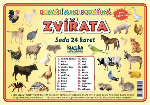 Kupka Petr a kolektiv: Domácí a hospodářská zvířata - Sada 24 karet