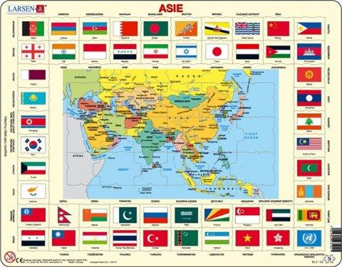 neuveden: Puzzle MAXI - Mapa ASIE + vlajky/70 dílků