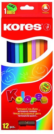 neuveden: Kores Trojhranné pastelky KOLORES 3 mm  s ořezávátkem 12 barev