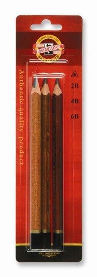 neuveden: Koh-i-noor tužka trojhranná grafitová silná 2B,4B,6B set 3 ks, hnědá barva