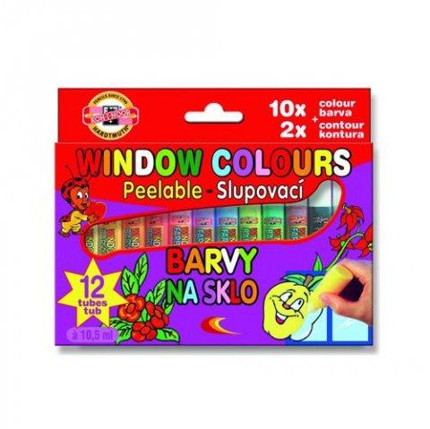 neuveden: Koh-i-noor barvy na sklo 12x10ml (10 barev + 2 kontury)