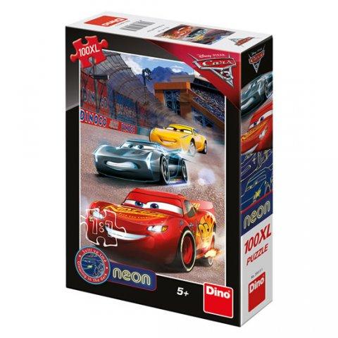 neuveden: Auta 3 - Vítězné kolo: svítící neonové puzzle 100XL dílů