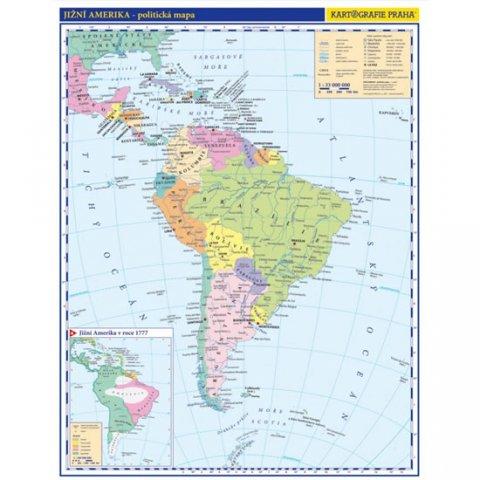 neuveden: Jižní Amerika - příruční politická mapa,  A3/1: 33 mil.