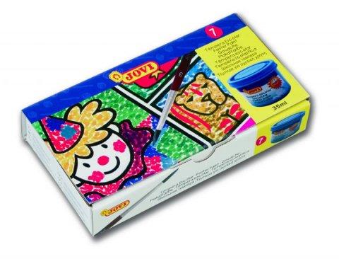 neuveden: JOVI temperové barvy 7x35ml v kelímku + volný kelímek + štětec