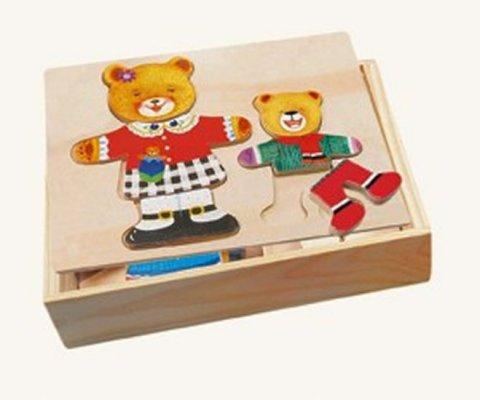 neuveden: Puzzle šatní skříň - madvědice + medvídek