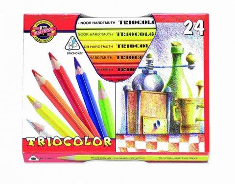 neuveden: Koh-i-noor pastelky TRIOCOLOR trojhranné silné souprava 24 ks v papírové kr