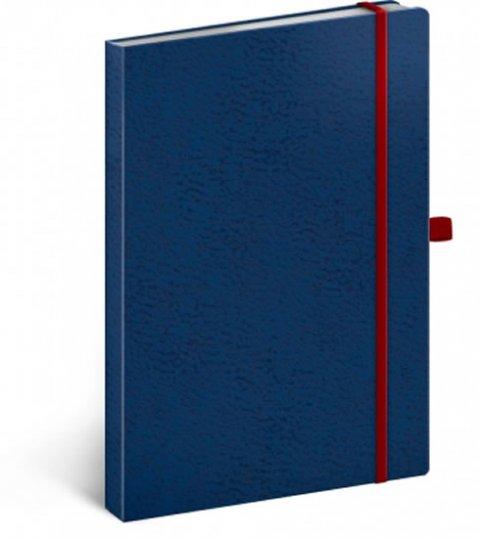 neuveden: Notes - Vivella Classic modrý/červený, tečkovaný, 15 x 21 cm