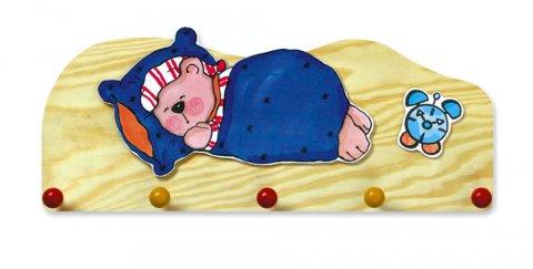 neuveden: Věšák spící medvěd - 5 háčků - natur
