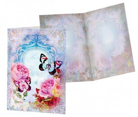 neuveden: Přání standard - Motýlek a růže /10x15cm