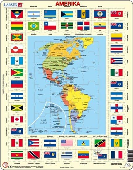 neuveden: Puzzle MAXI - Mapa Ameriky + vlajky/70 dílků