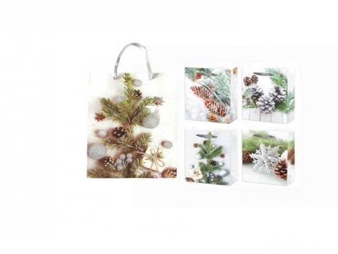 neuveden: Dárková taška - Vánoční s glitrem/18x24x8,5 (mix)