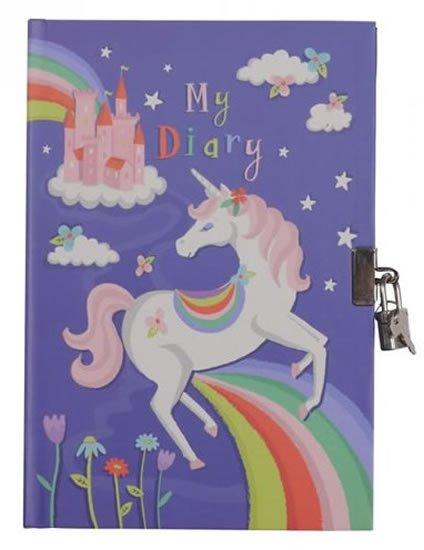 neuveden: Duhoví jednorožci - Uzamykatelný deník pro malé slečny