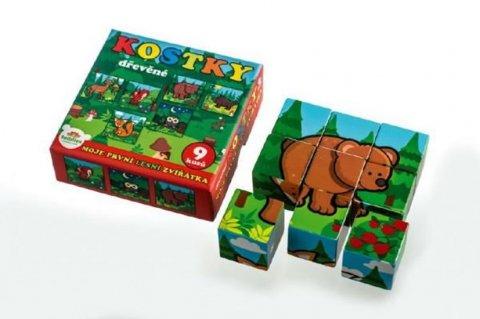 neuveden: Moje první zvířátka  - Kostky kubus dřevěné 9 ks