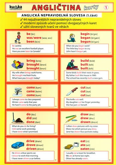 Kupka Petr a kolektiv: Angličtina karty 1 - nepravidelná slovesa