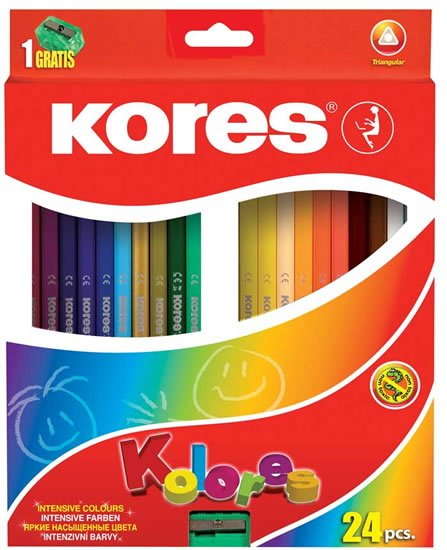 neuveden: Kores Trojhranné pastelky KOLORES 3 mm s ořezávátkem 24 barev