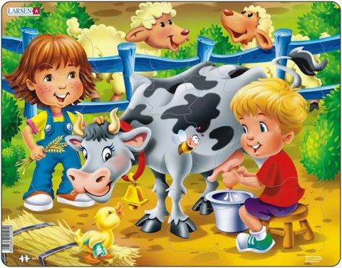 neuveden: Puzzle MAXI - DOJÍME kravičku/18 dílků