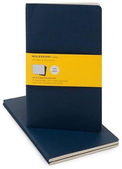 neuveden: Moleskine Sešity 3 ks modré tmavě L, čtverečkované