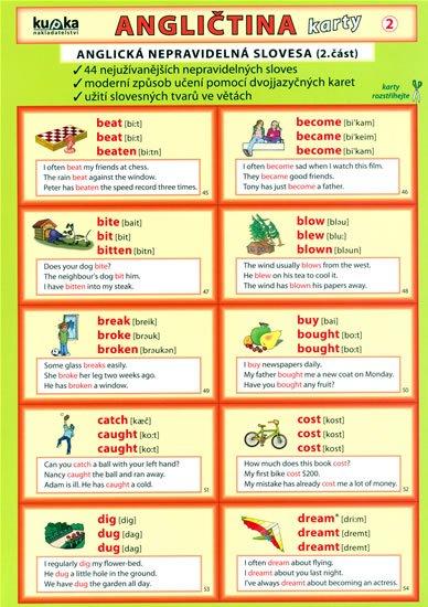 Kupka Petr a kolektiv: Angličtina karty 2 - nepravidelná slovesa