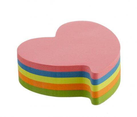 neuveden: Kores Neonové bločky 70x70mm HEART tvar srdce , mix 5 barev
