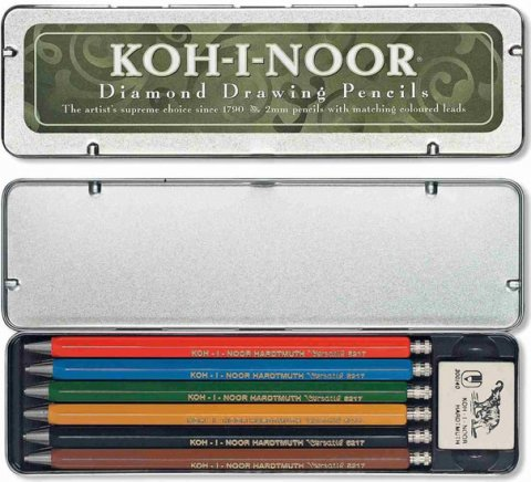 neuveden: Koh-i-noor tužka mechanické/Versatil souprava 6 ks s gumou v plechové krabi