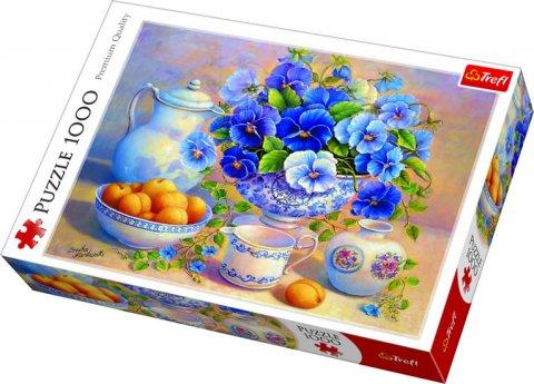 neuveden: Puzzle: Modrá kytice / 1000 dílků