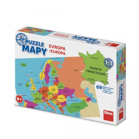 neuveden: Puzzle mapy Evropa: puzzle 69 dílků