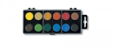 neuveden: Koh-i-noor vodové barvy/vodovky obdélník černý 12 barev o průměru 22,5 mm