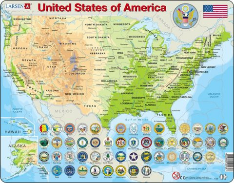 neuveden: PUZZLE MAXI - Mapa USA - geografická/90 dílků