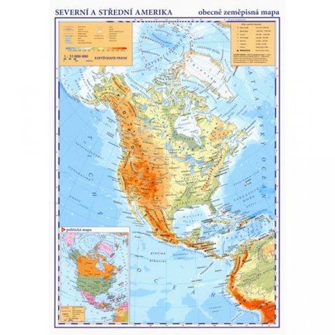 neuveden: Severní a střední Amerika - příruční obecně zeměpisná mapa A3/1:35 mil.