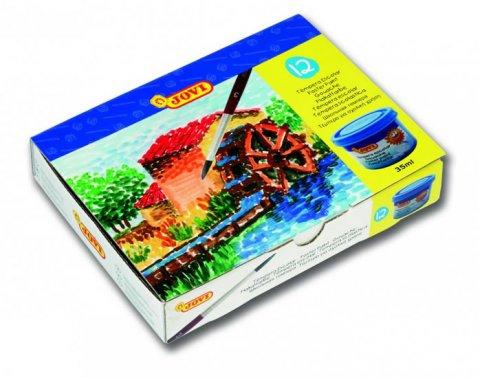 neuveden: JOVI temperové barvy 12x35ml v kelímku + štětec