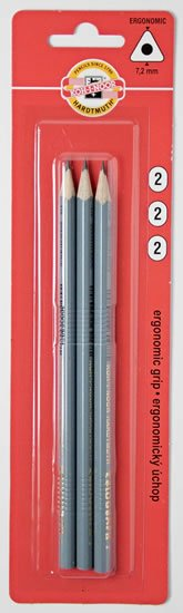 neuveden: Koh-i-noor tužka grafitová trojhranná č.2/šedá set 3 ks