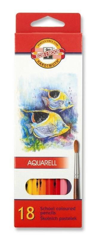 neuveden: Koh-i-noor pastelky akvarelové školní 18 ks motiv RYBY