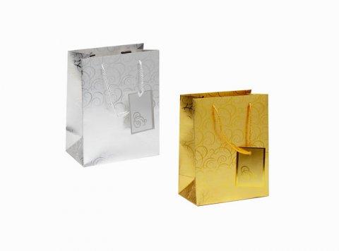 neuveden: Dárková taška - Zlatá, Stříbrná aluminiový povrch a prolis/23x17,5x9(2 druh