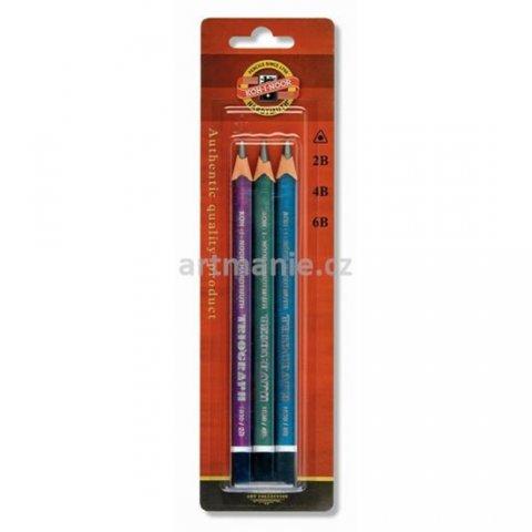 neuveden: Koh-i-noor tužka trojhranná grafitová silná 2B,4B,6B set 3 ks metalické bar